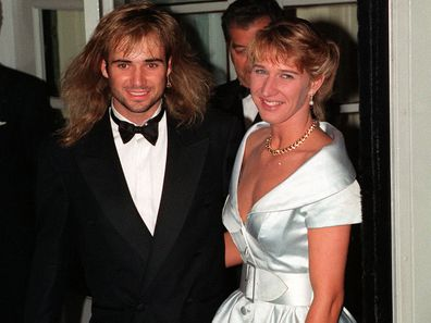 Wimbledon Champions Steffi Graf and Andre Agassi outside the Savoy Hotel in London for the post Wimbledon dinner.