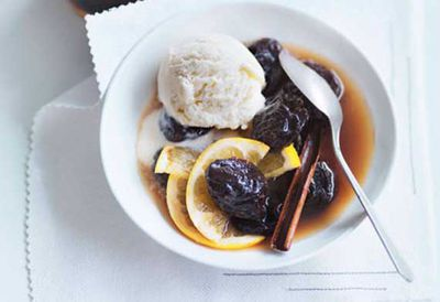 Cognac prunes and oranges with crème fraîche ice-cream