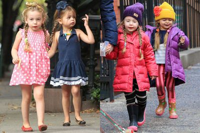 Sarah Jessica Parker's three-year-old twins seem to have no trouble following in their mother's fashionable footsteps...mini Manolo Blahnik's anyone?