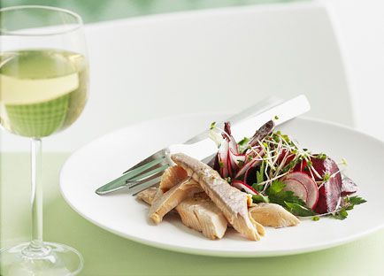 Smoked river trout with beetroot and radish salad