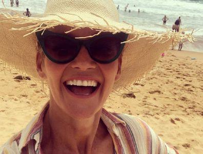 Jessica Rowe at the beach