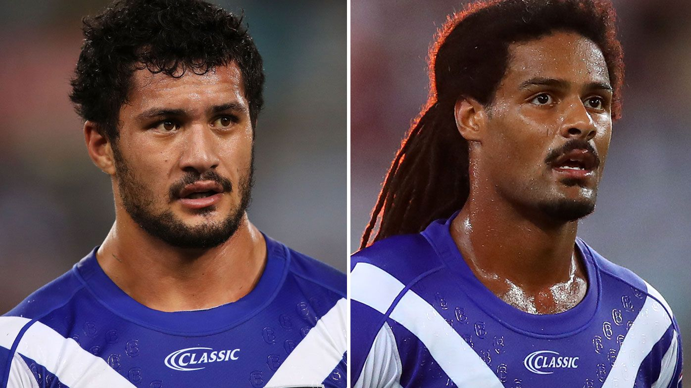 Corey Harawira-Naera and Jayden Okunbor of the Bulldogs face serious punishment from the club over the recent schoolgirl scandal. (Getty)