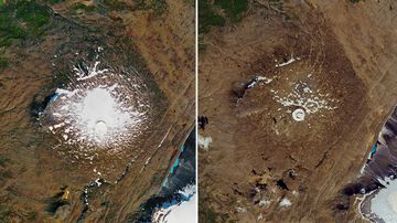 Photos provided by NASA shows the shrinking of the Okjokull glacier on the Ok volcano in west-central Iceland. A geological map from 1901 estimated Okjokull spanned an area of about 38 square kilometres. In 1978, aerial photography showed the glacier was 3 square kilometres. In 2019, less than 1 square kilometre remains. The photo on the left is taken 1986, and on right 2019.