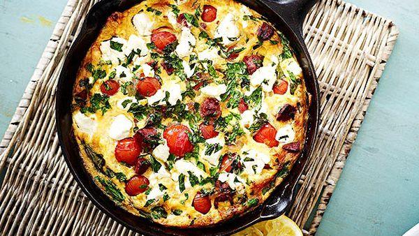 Chorizo, tomato and feta pan omelette
