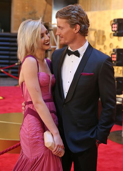The Bachelor couple Alex Nation and Richie Strahan arrive at the 59th Annual Logie Awards at Crown Palladium on April 23, 2017 in Melbourne, Australia.