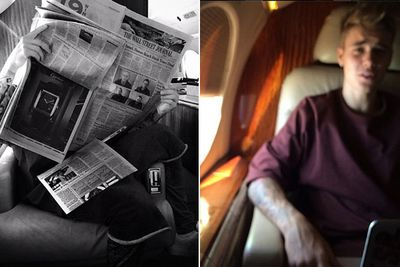 Justin's pre-holiday shots. Selena's obvs hiding somewhere on the plane...