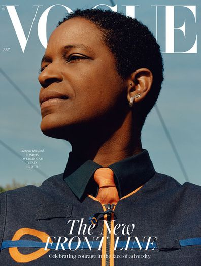 British Vogue's July Cover Narguis Horsford, a train driver on the London Overground