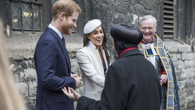 Meghan and Harry laugh with archbishops, 2018