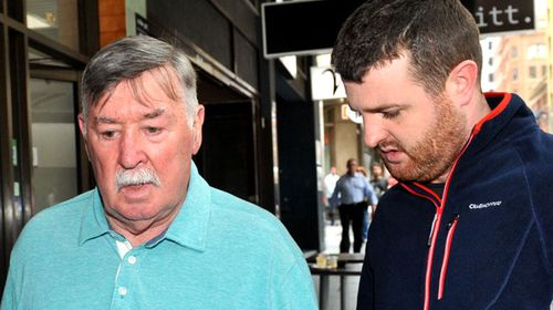 Barry Lyttle and his father Oliver outside court today.