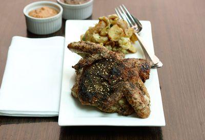 Za'atar-roasted whole baby chicken