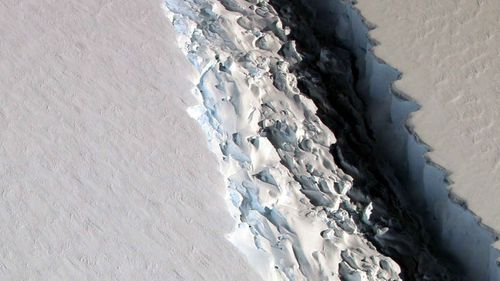 Football field wide crack lengthens on Antarctic ice shelf