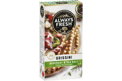 3. Always Fresh Grissini –Rosemary & Sea Salt: 1530mg sodium per 100g (214mg per serve)