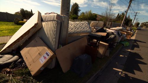 Residents of Dalton Street in Sunshine West have been putting out their rubbish weeks ahead of pickup.