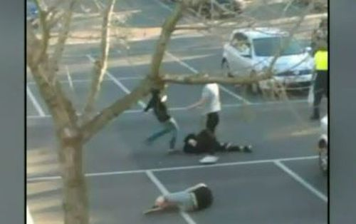 The victims were kicked and punched in the head at the Broadmeadows library carpark.