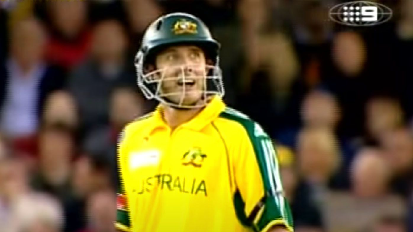 Australian cricket greats relive the moment Michael Hussey hit the Docklands Stadium roof in the 2005 ICC Super Series