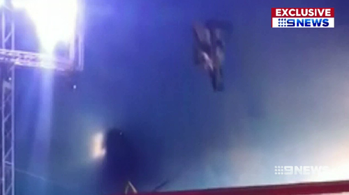 A motorbike stunt rider has spoken for the first time about the circus act mishap that almost cost him his life.