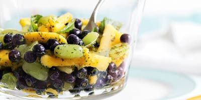 "Recipe:&nbsp;<a href=""http://kitchen.nine.com.au/2016/05/17/13/00/blueberry-mango-grape-salad-with-mint"" target=""_top"">Blueberry, mango and grape salad with mint</a>"