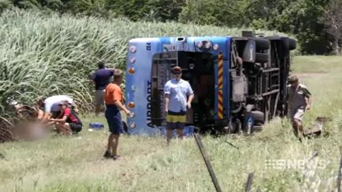 The bus came off the road around 1pm. (9NEWS)