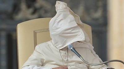 A windy Wednesday at the Vatican proved a challenge for Pope Francis. (Getty)