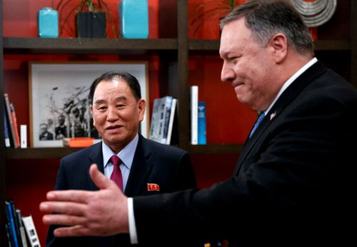 Secretary of State Mike Pompeo, right, and Kim Yong Chol, a North Korean senior ruling party official and former intelligence chief. The talks discussed a future summit between Donald Trump and Kim Jong-un.