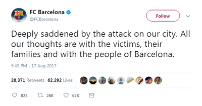 Barcelona's soccer team spoke of the horror after news of the attack.