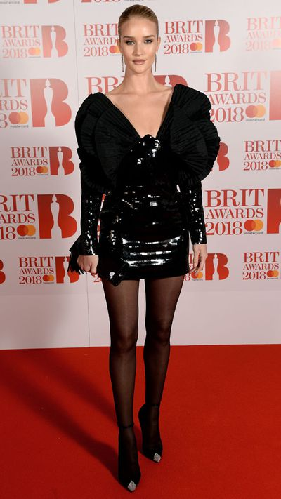 Rosie Huntington-Whiteley in Saint Laurent at the 2018 Brit Awards