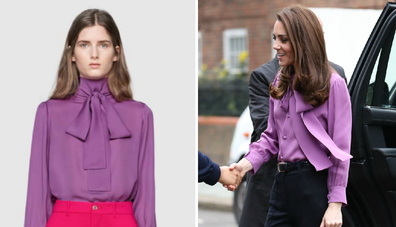 It seems Kate was wearing the blouse back-to-front.