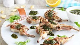 Chargrilled lamb cutlets with macadamia pesto