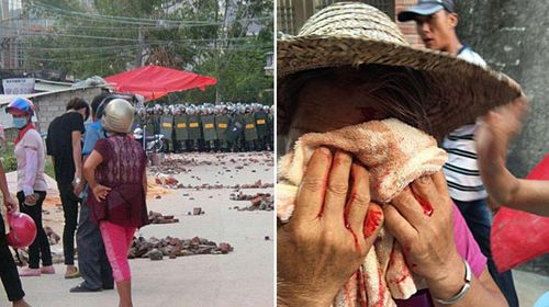 Armed police attacked villagers, many of whom are pensioners, during the attempted lockdown of Wukan village. (AAP/ABC)