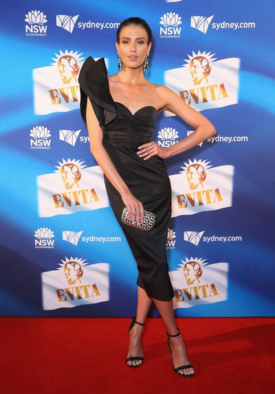 Singer, model and TV host Erin Holland at the premiere of <em>Evita,</em> Sydney Opera House.
