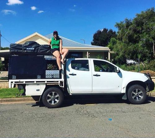 Ashleigh's ute was stolen on Sunday night, and dumped 400km away, with her pup still on the back.