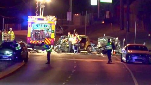 The Northern Road in Orchard Hills, Sydney, closed by fatal crash.