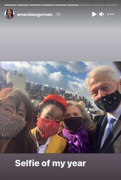 Amanda Gorman with Bill and Hillary Clinton