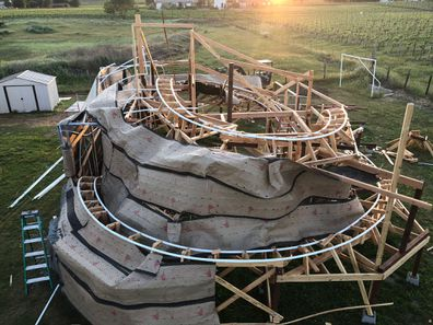 The backyard rollercoaster track ended up being 122 metres long
