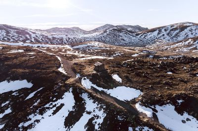 Scenic aerial overlooking the alpine backcountry in Kosciuszko National Park.
