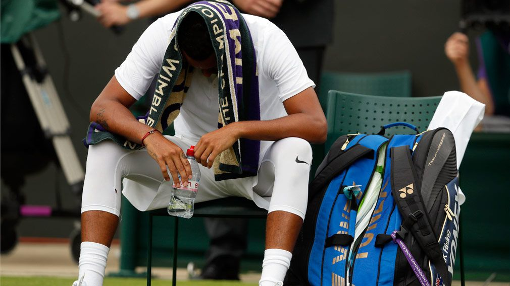 Nick Kyrgios was forced to retire from his first round match at Wimbledon. (AAP)