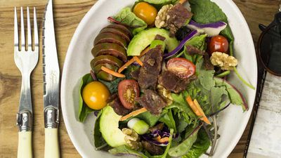 "Recipe: <a href=""http://kitchen.nine.com.au/2018/02/08/11/50/crunchy-summer-salad-with-beef-jerky-recipe"" target=""_top"">Crunchy summer salad with beef jerky</a>"