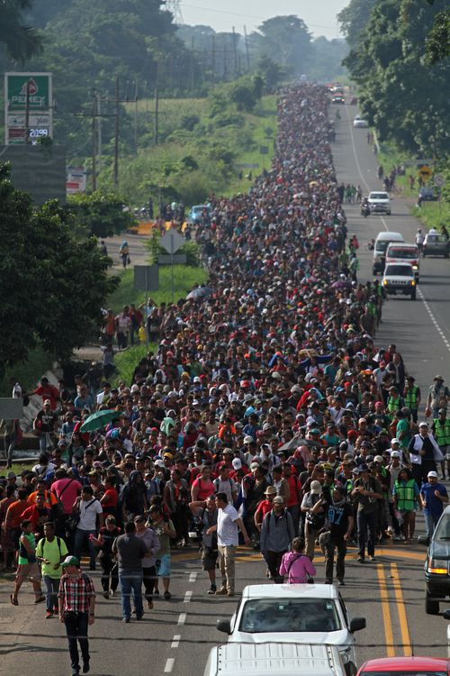 The migrant caravan, which started out more than a week ago with less than 200 participants, has drawn additional people along the way, swelling to around 5000.