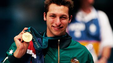 Ian Thorpe with his gold medal after winning the 400m freestyle at the Sydney Olympics.