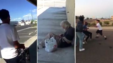 Teens throw crate at homeless man in random attack