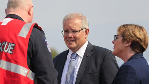 Prime Minister Scott Morrison yesterday visited the Huonville evacuation centre that has become home to hundreds of people.