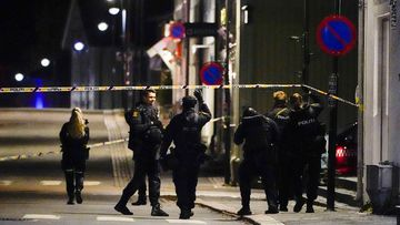 Police at the scene after an attack in Kongsberg, Norway, Several people have been killed and others injured by a man armed with a bow and arrow in a town west of the Norwegian capital, Oslo.