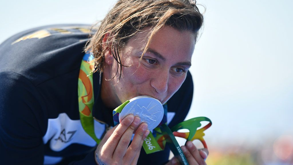 Rachele Bruni won silver in the 10km swim. (AFP)