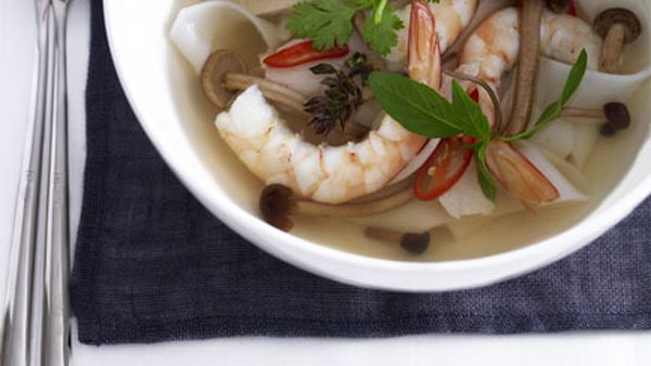 Hot and sour prawn, chicken and noodle soup