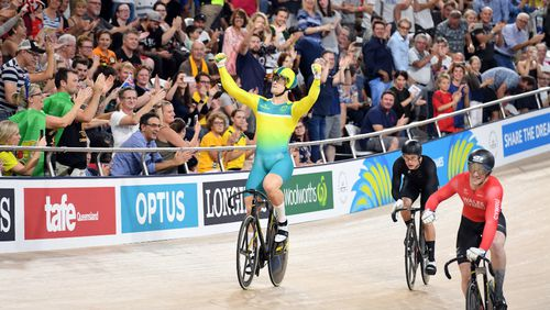 Glaetzer celebrates after winning gold in the men's keirin. (AAP)