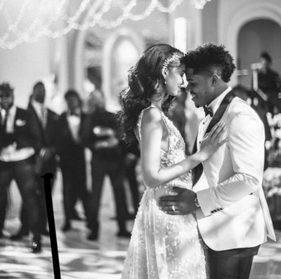 Chanel Iman and Sterling Shepard during their bridal waltz.