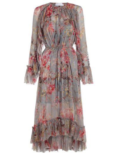 "<strong><a href=""https://www.zimmermannwear.com/mercer-floating-dress-blue-floral.html"" target=""_blank"">Zimmermann</a></strong> floral dress, $1100<br />"