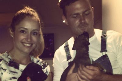 @catakakate: Backstage at the live eviction with these cute little puppies. @lawsonreeves91 @awlqld #iwantone