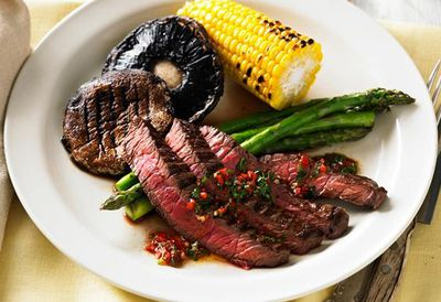 Barbecue steak with chimichurri