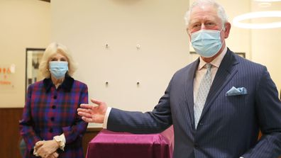 Prince Charles, Prince of Wales and Camilla, Duchess of Cornwall visit The Queen Elizabeth Hospital on February 17, 2021 in Birmingham, England.